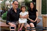 Massimo carrarino con la figlia Miletta e la moglie Naoko giapponese